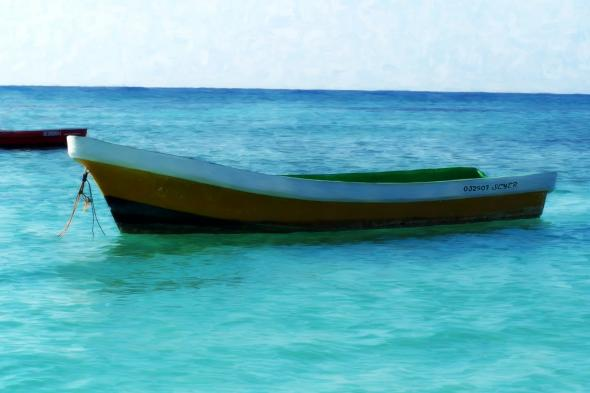 Photo of Boat on the Ocean on Canvas Pop Art