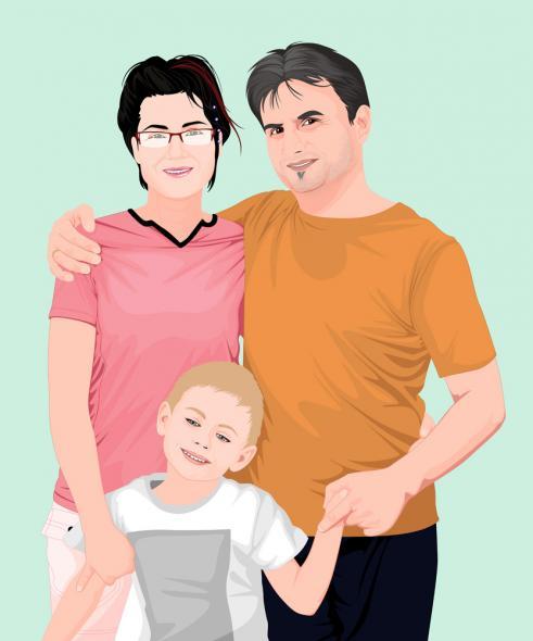 Familienfoto als Grafik Leinwand