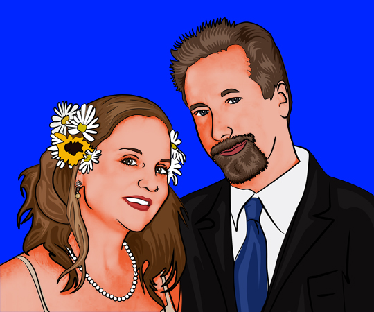 Pop Art Canvas of Flowery Wedding