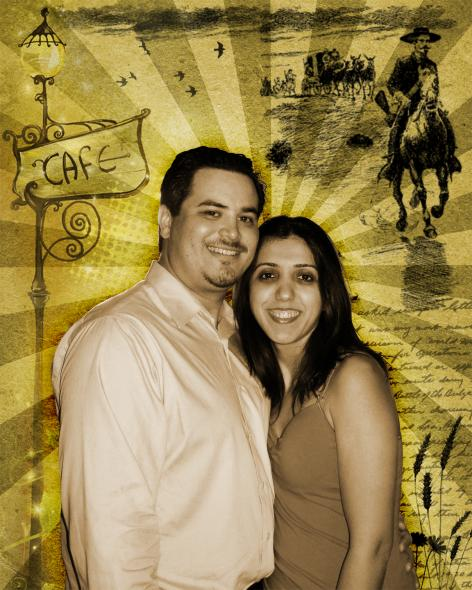 Pop Art on Canvas of Couple in Sepia