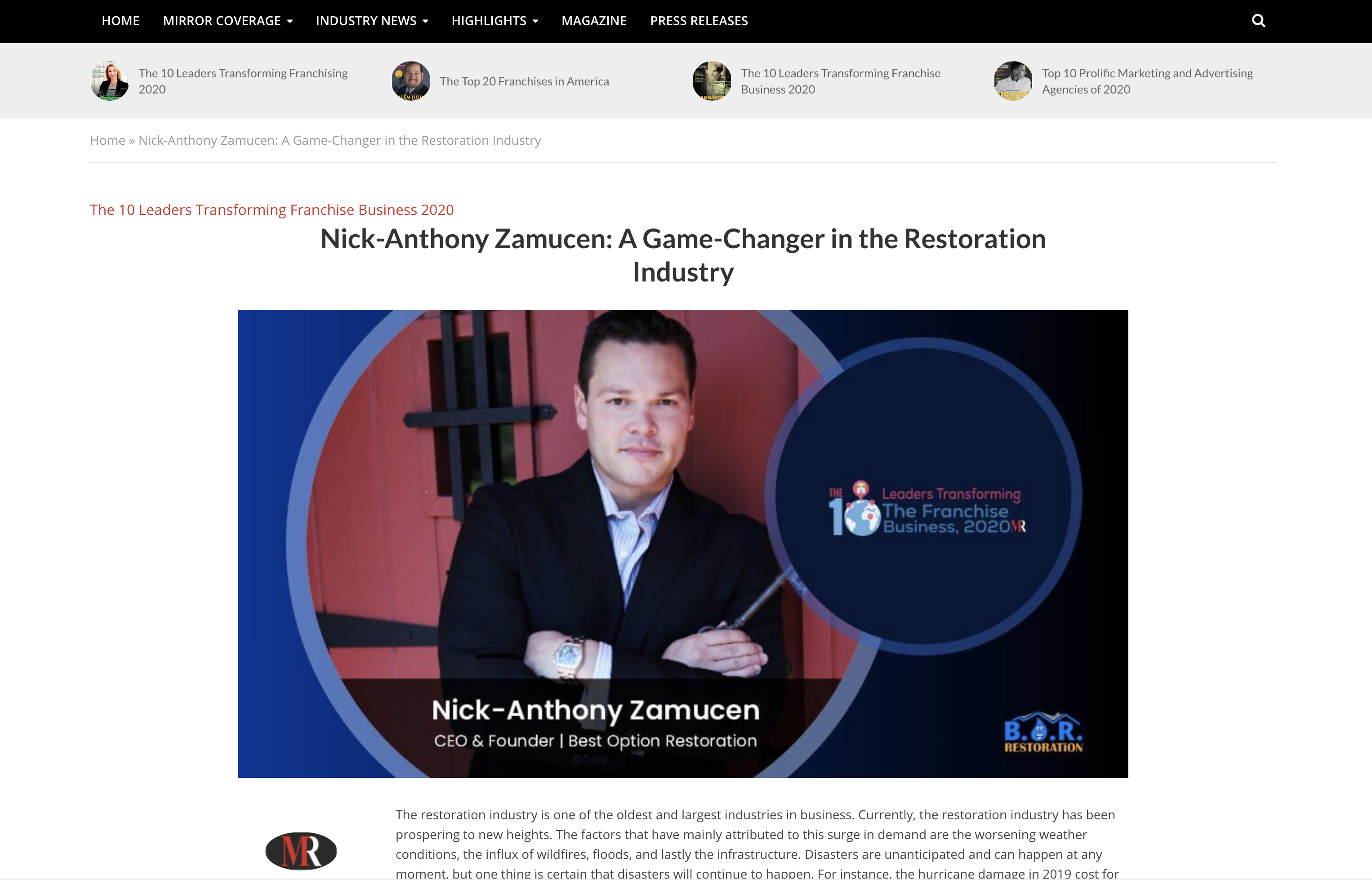 Interview in Mirror Review with Nick-Anthony Zamucen