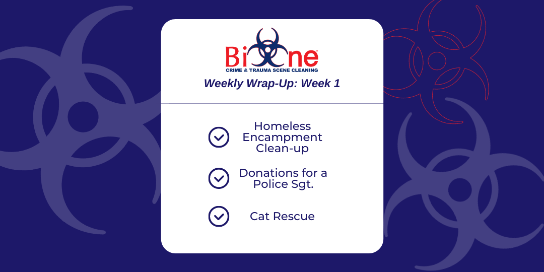 Bio-One Homeless Encampment, Rescuing Cats, Donating to Police Officer