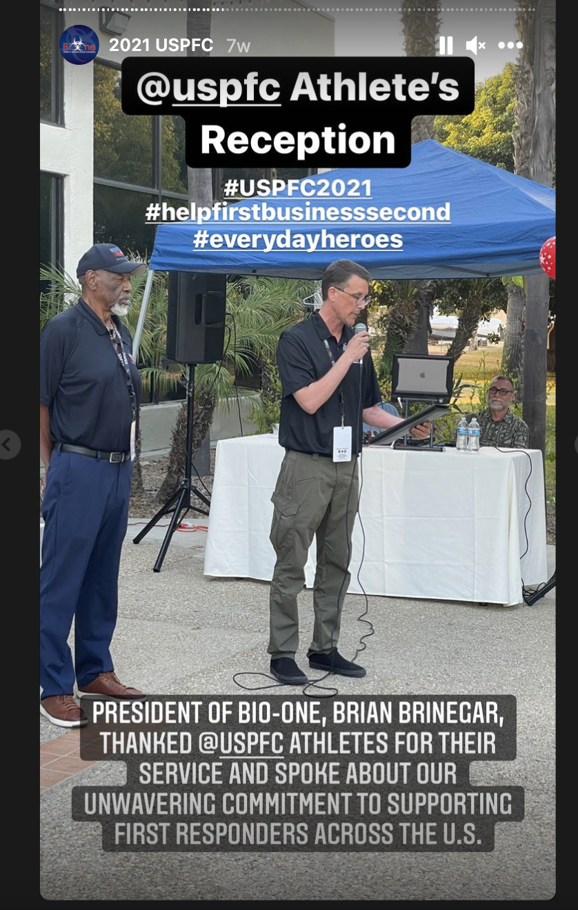 Bio-One President Brian Brinegar Speaking During the Athlete's Reception