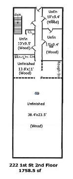 Floorplan of the second floor space.