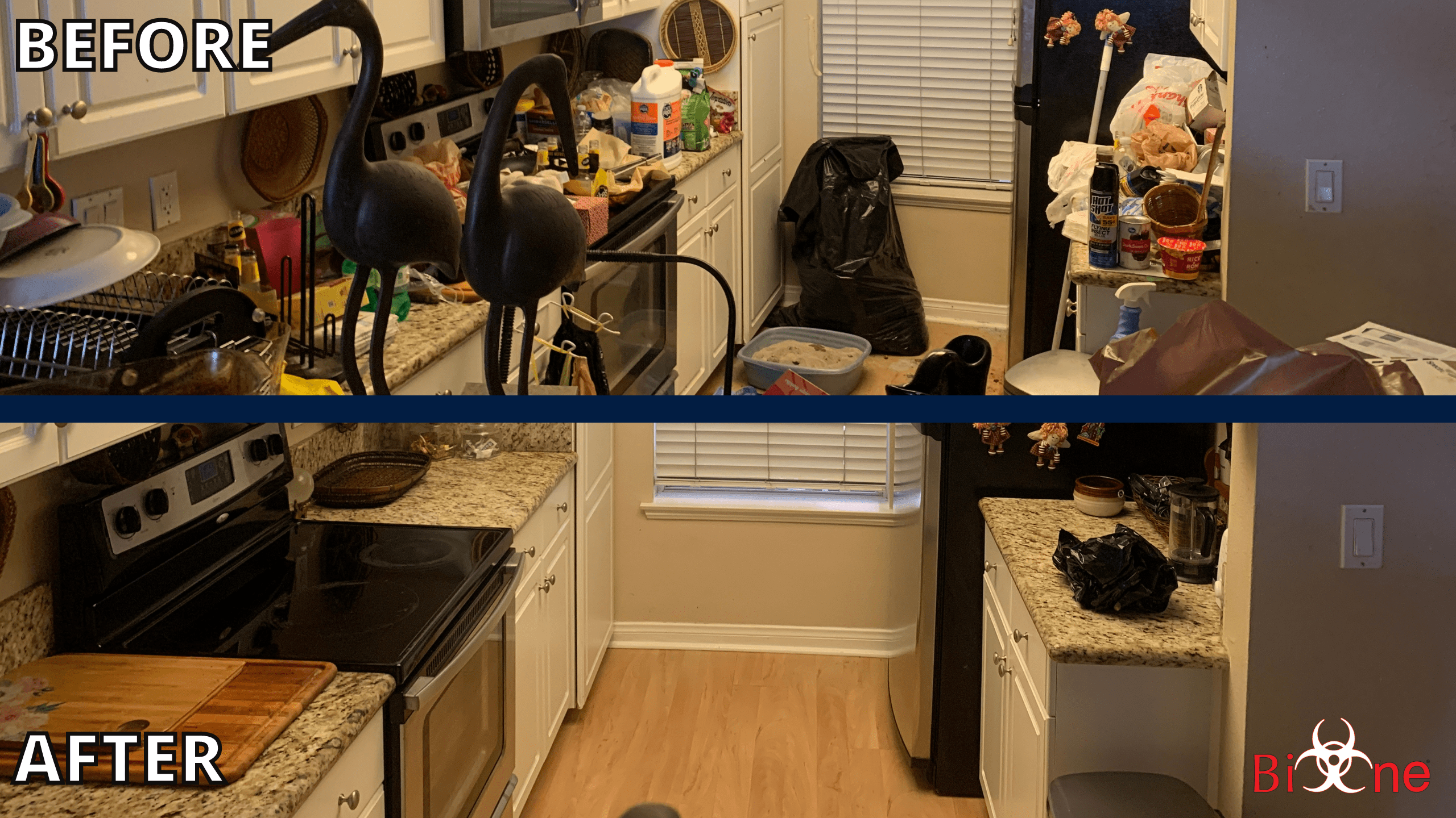 Picture is divided in two parts and shows a 'before/after' scenario of the same kitchen space but from the opposite angle. The first half shows the 'before' image, the space with multiple items and trash scattered around. The second half shows the 'after' image of the same space once it was cleaned with the help of the Bio-One Team. On the bottom right corner is the Bio-One logo.