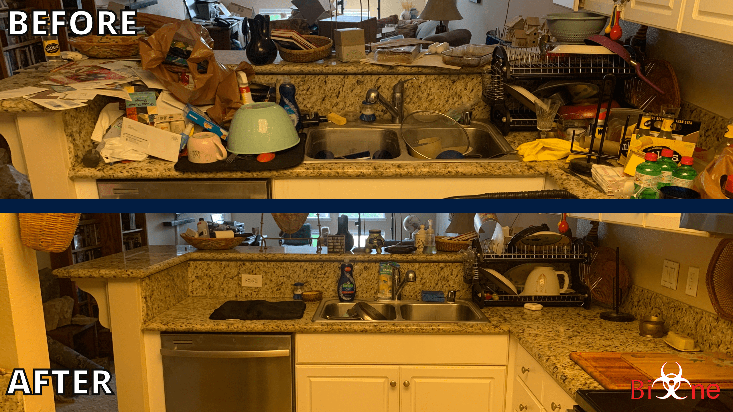 Picture is divided in two parts and shows a 'before/after' scenario. The first half shows the 'before' image, a kitchen space with multiple items scattered around. The second half shows the 'after' image of the same space once it was cleaned with the help of the Bio-One Team. On the bottom right corner is the Bio-One logo.