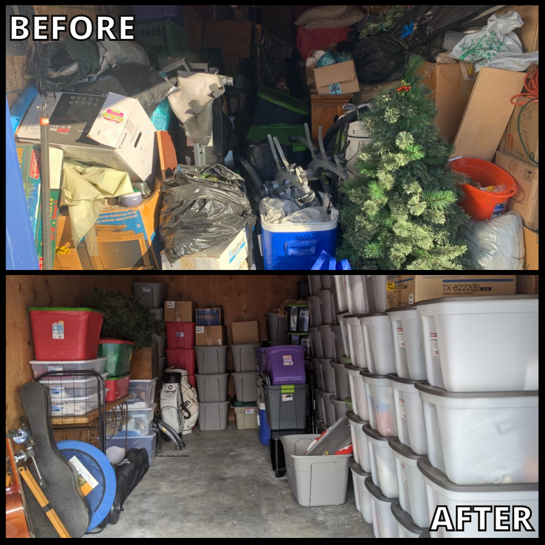 Image shows before-and-after pics of a cluttered garage, and then, organized by the Bio-One Team.