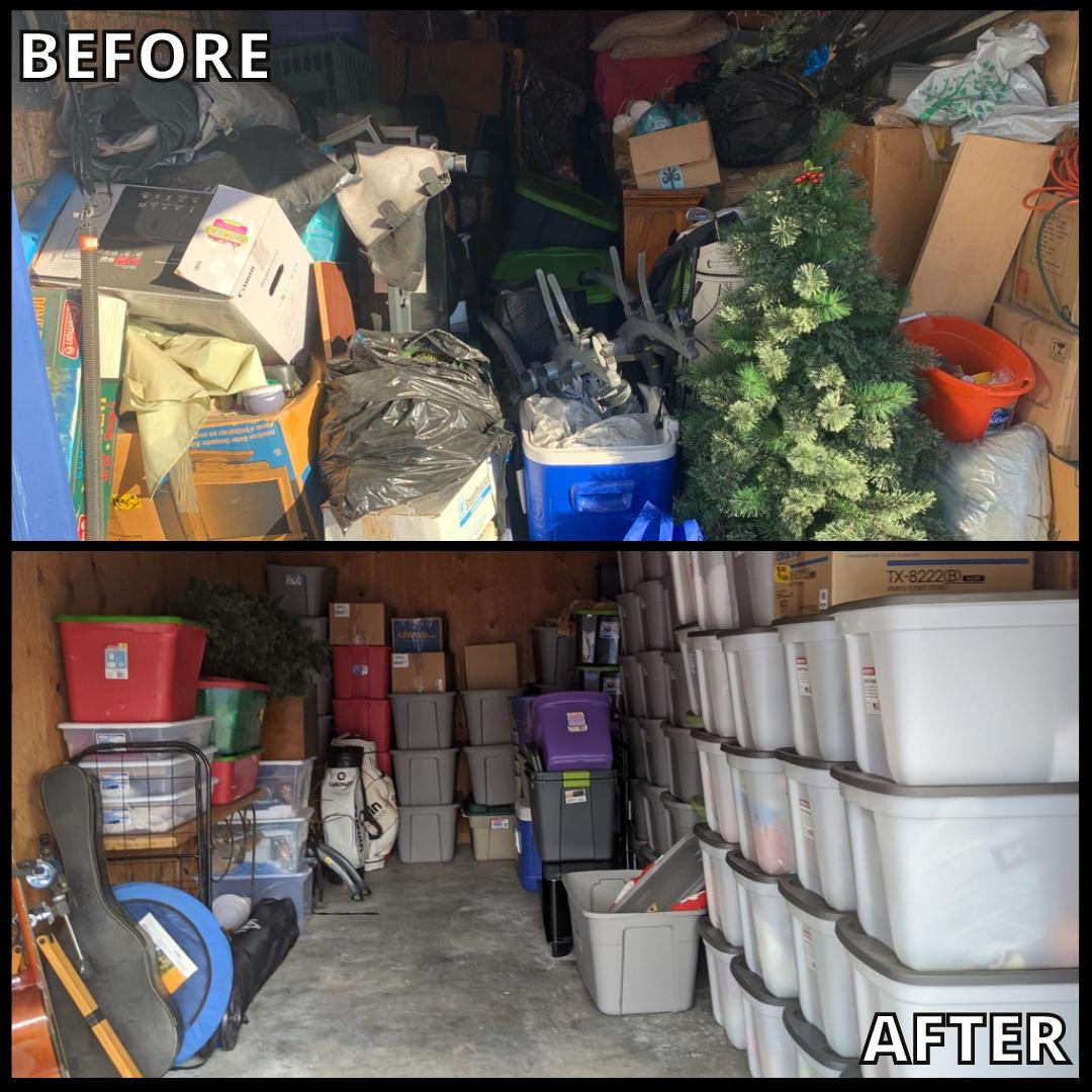 """La imagen muestra el """"antes/después"""" de un trabajo de limpieza y orden en un área de Garage, realizado por el Equipo de Bio-One."""