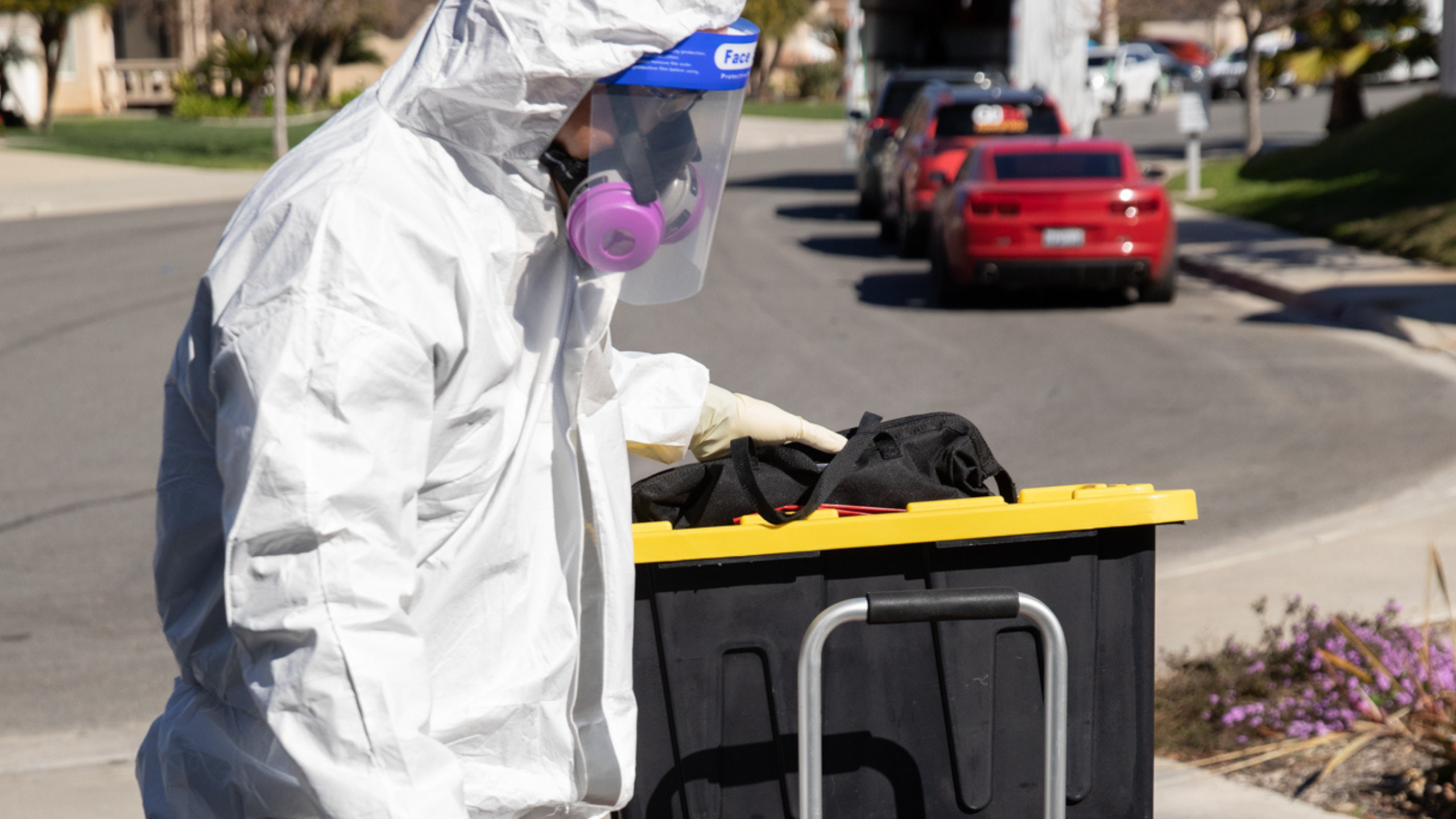 Image shows a Bio-One of Oceanside technician as he takes on a cleanup and sanitation service.