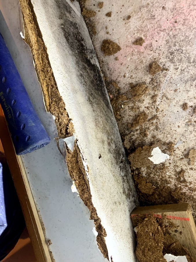 Image shows kitchen furniture damaged by mold. Mold technicians are in the process of removal and remediation.