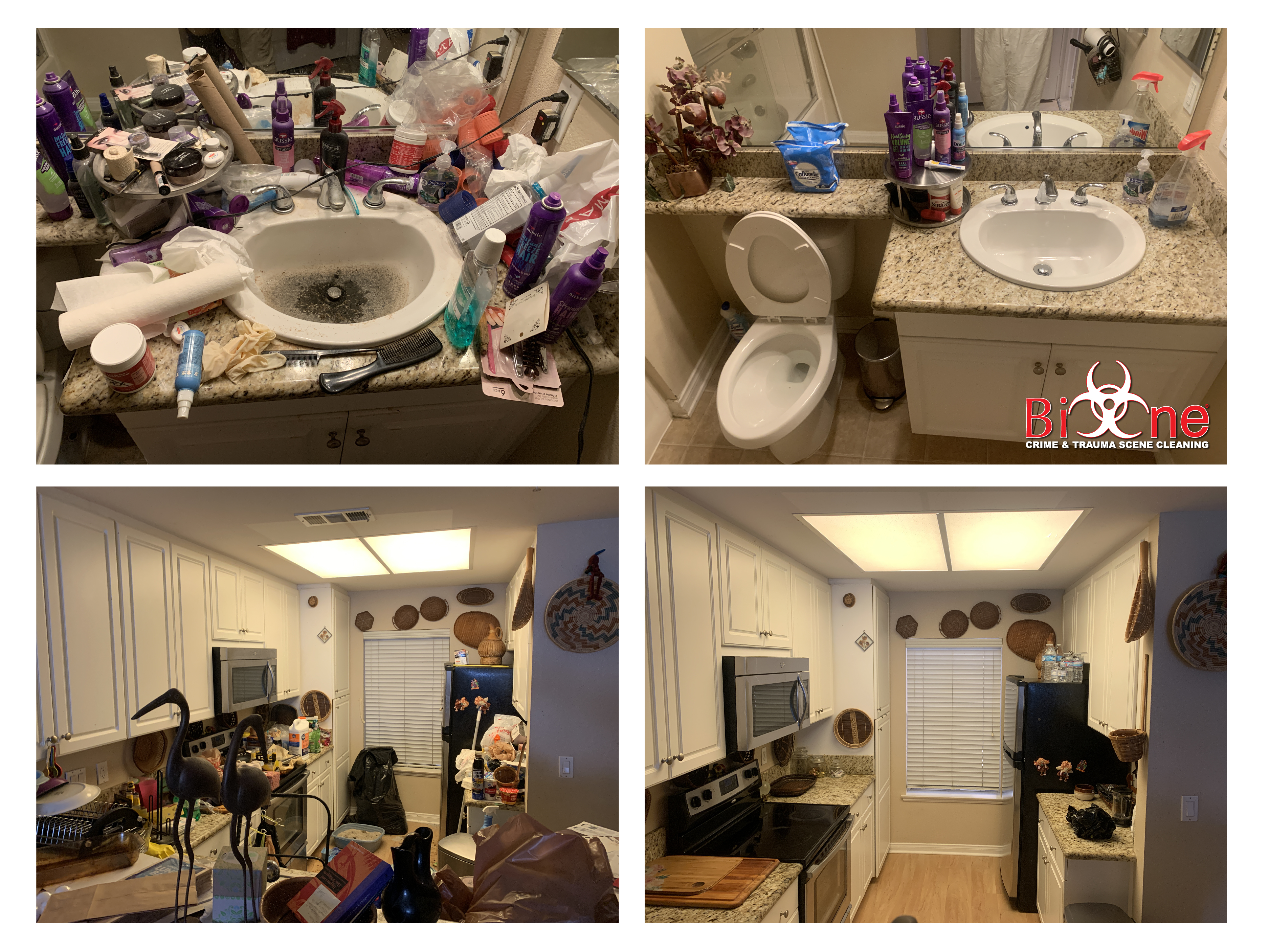 Before and after pics of a hoarded house cleaned by Bio-One of Oceanside specialists..