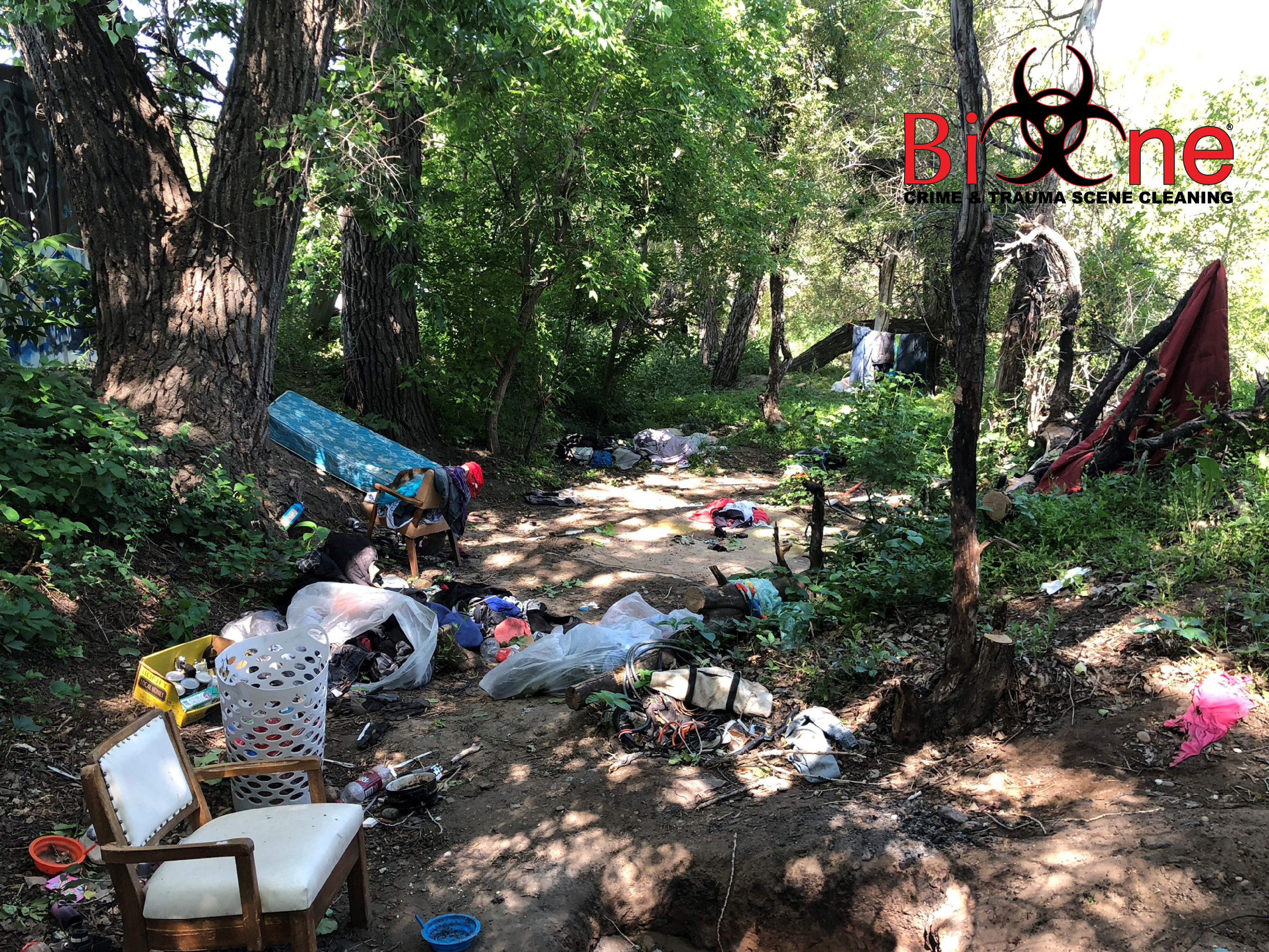 Homeless encampments pose multiple biohazards like sharp objects, rats, mice, cockroaches, and biological waste.