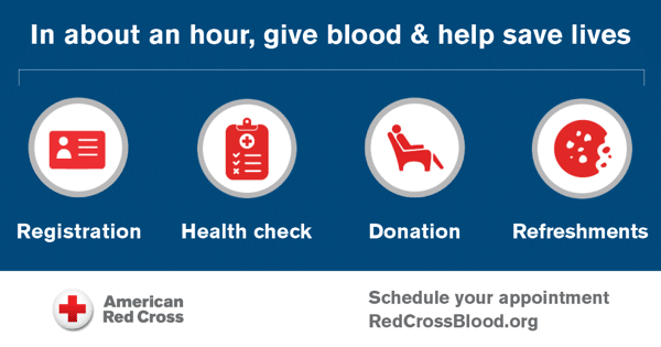 Image shows the Blood Donation Process - Courtesy of the American Red Cross.