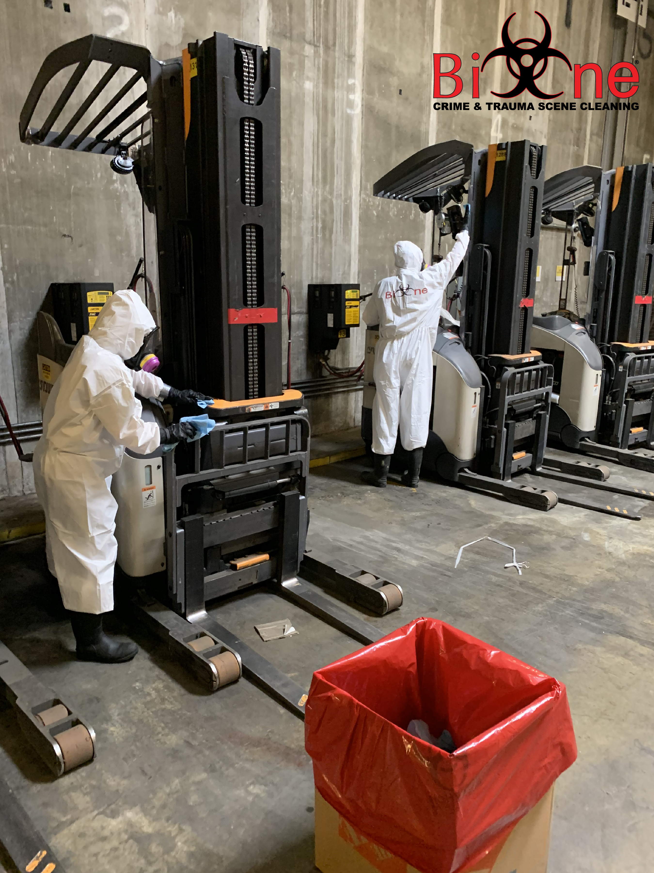 Bio-One specialists work to clean and sanitize commercial properties from biohazardous material.
