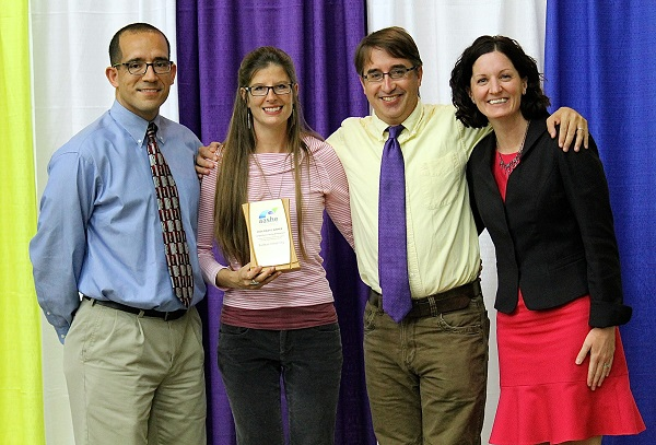 From left, Furman's Joey Espinosa, Kelly Grant Purvis, Wes Dripps, and AASHE Executive Director Meghan Fay Zahniser.