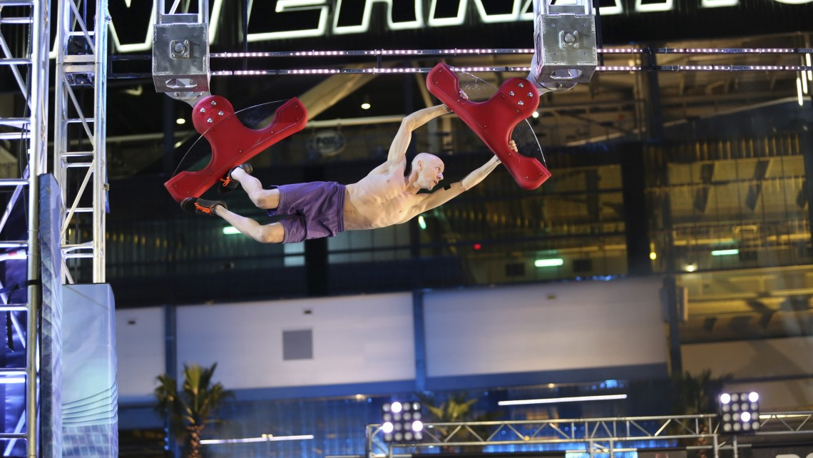 "Furman superfan Bootie Cothran competes on the NBC show ""American Ninja Warrior."""