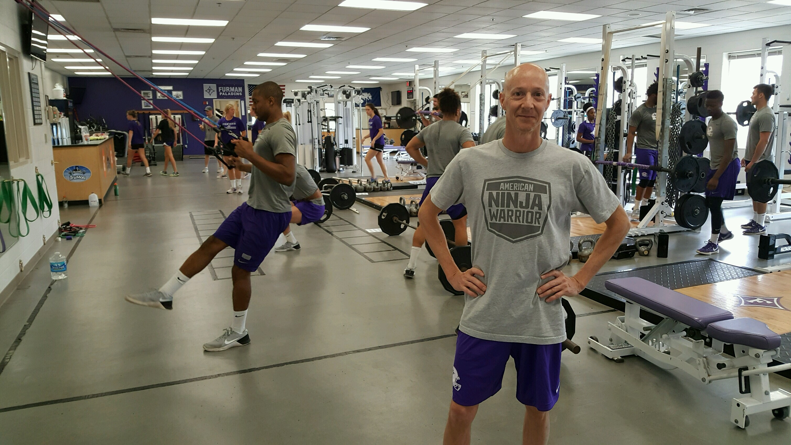 "Furman fan Bootie Cothran trains in the weight room at Timmons Arena to prepare for ""American Ninja Warrior."""