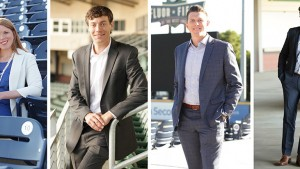 """Furman alumni, from left, Kate Dabbs '09, Drew Dezen '12, Nick Hollstegge '07 and Monty Turner '11 have been honored as Greenville Business Magazine's """"The Best & Brightest 35 and under."""""""
