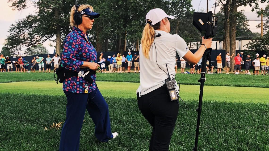Dottie Pepper '87, left, and Marra Burton '20 at the 2018 PGA Championship.