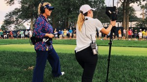 Dottie Pepper '87, left, and Marra Burton '20 at the 2018 PGA Championship.
