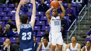 Furman guard Jordan Lyons '20 takes a shot.