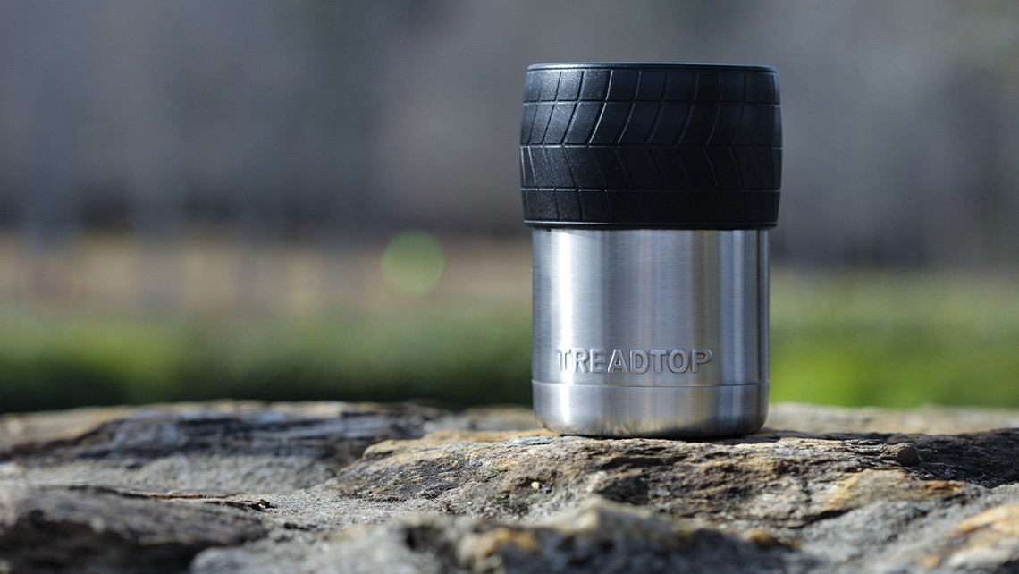 The TreadTop bottle and can cooler, designed by Ryan Roberts '12
