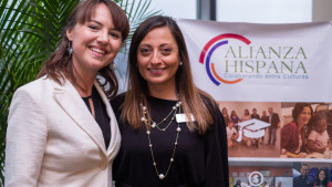 Courtney Quinn, visiting research associate in sustainability science at Furman, and Adela Mendoza, right, executive director of the Hispanic Alliance.