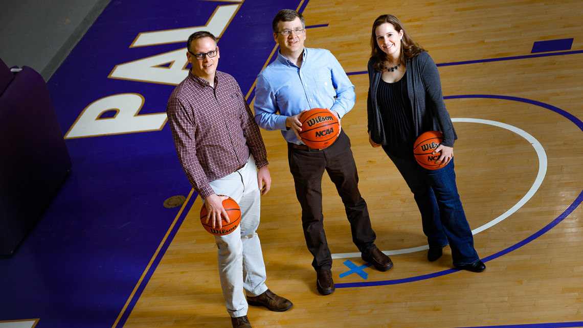 Furman math professors Kevin Hutson, John Harris '91 and Liz Bouzarth