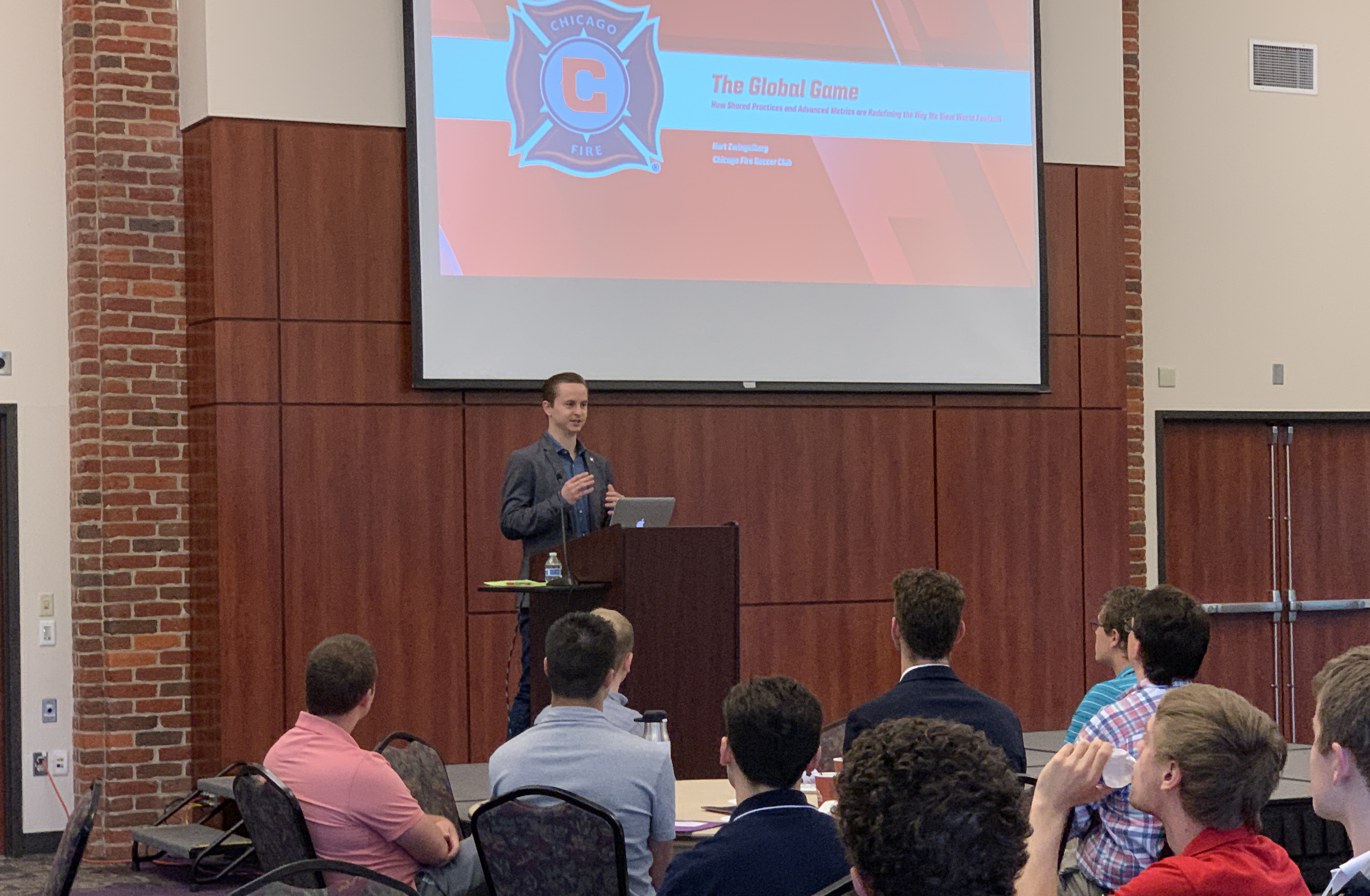 Hart Zwingelberg '15 speaks at the Carolinas Sports Analytics Meeting
