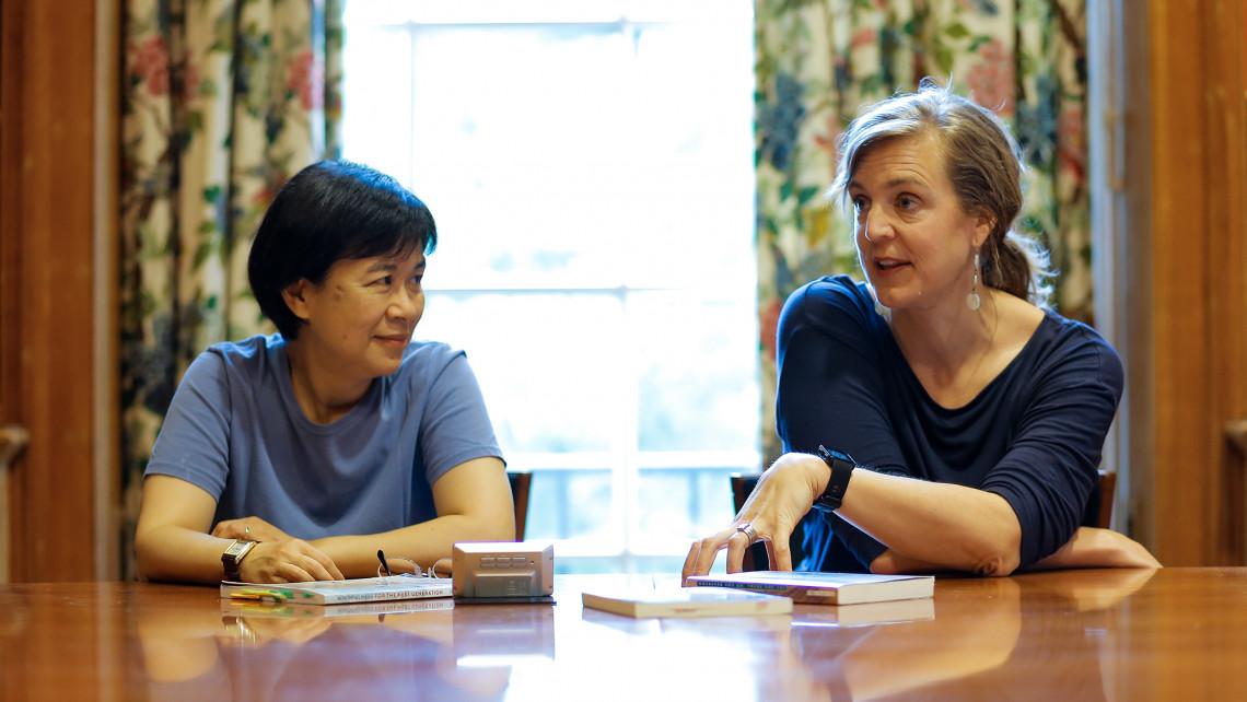 Furman professors Min-Ken Liao and Meghan Slining teach mindfulness