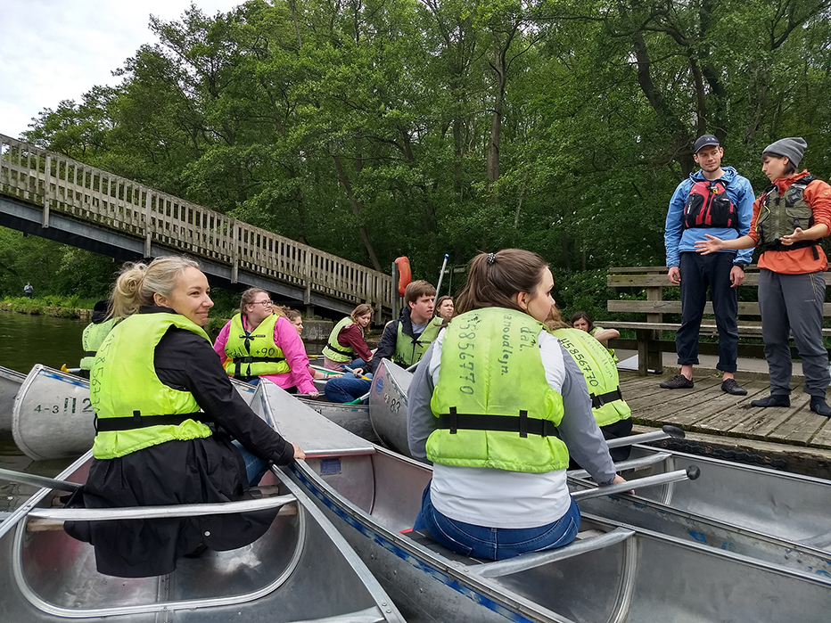 Furman students practice mindful canoeing in Denmark.