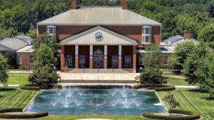Drone photo of the Duke Library.