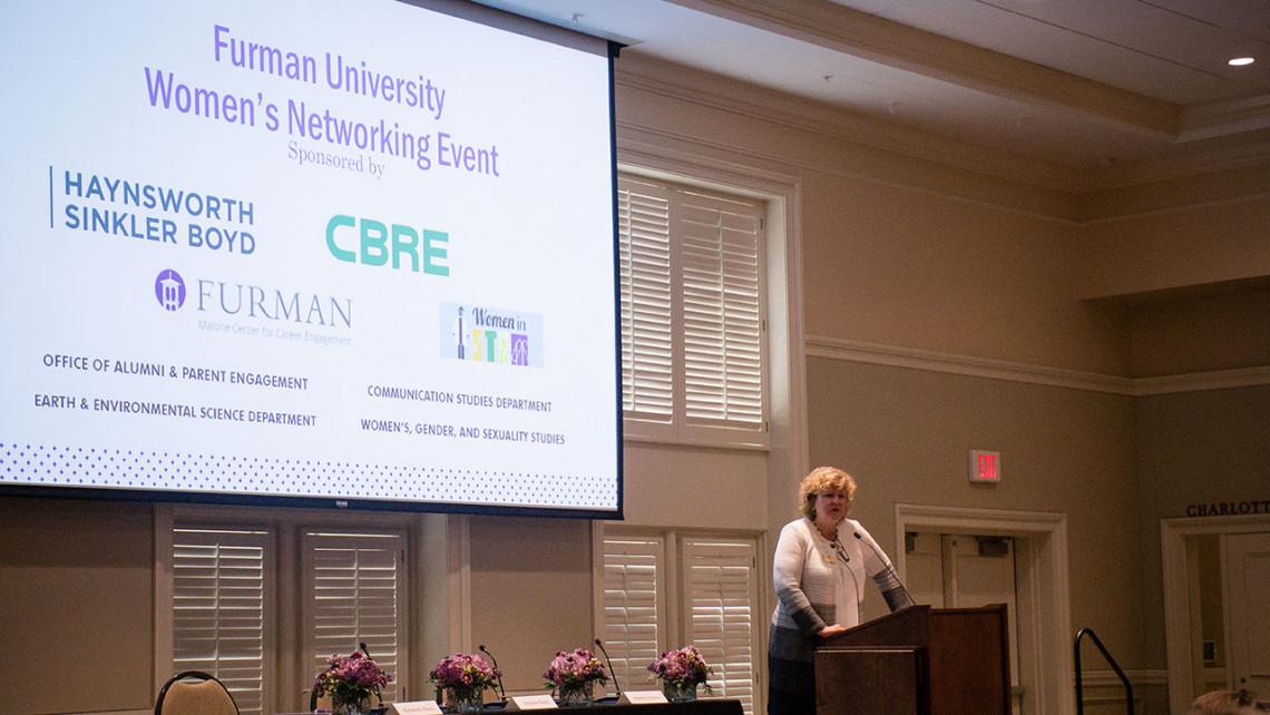 Furman President Elizabeth Davis speaks at the 2018 WNE