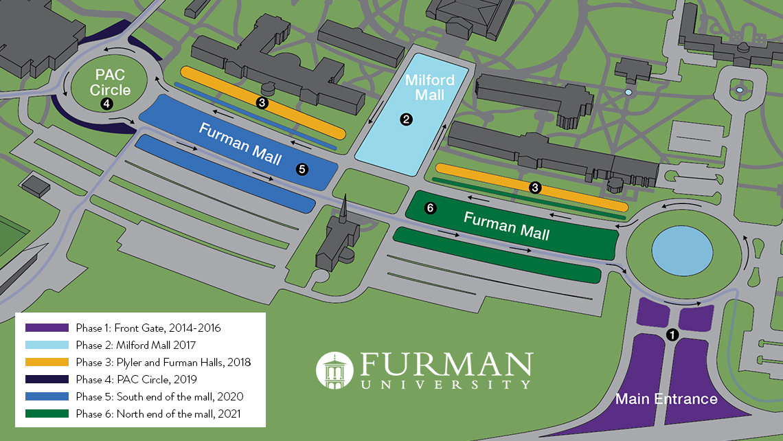 furman university campus map Campus Map Tree Zones 1140x642 Furman News furman university campus map