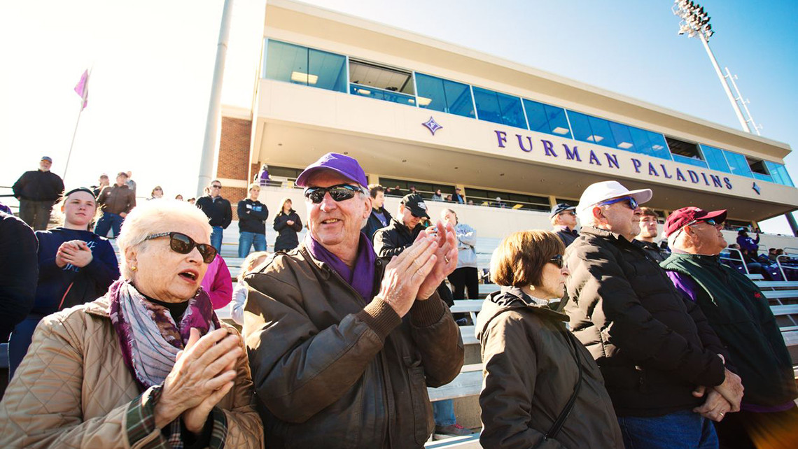 Photo of a crowd at a Furman football game.