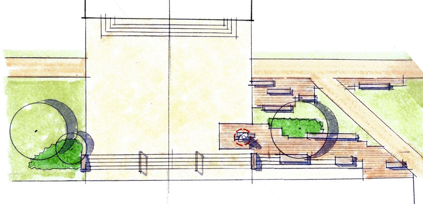 Early concept drawing of the layout for the Joseph Vaughn statue that will be placed on the front-right corner of the library steps