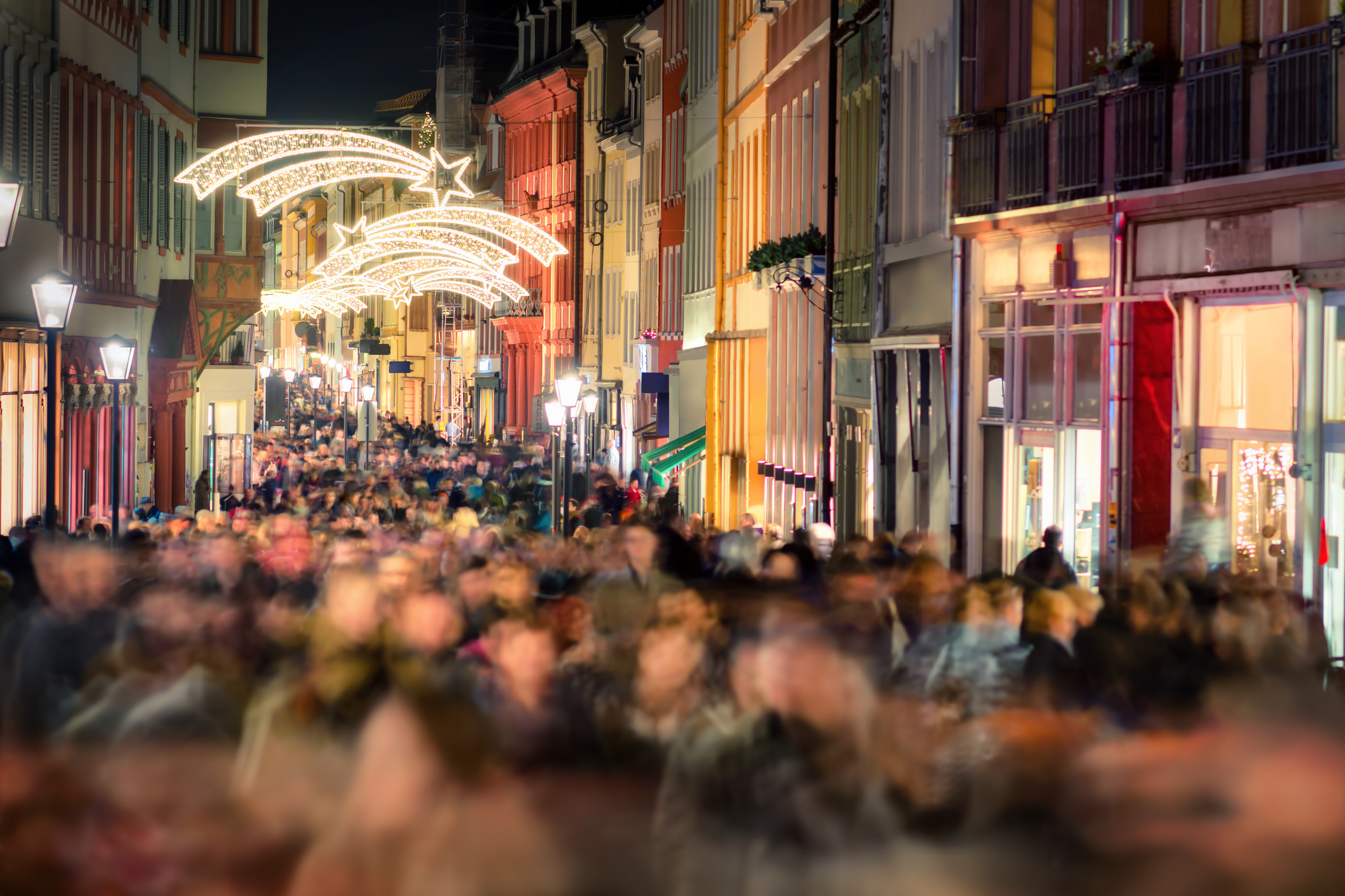 Crowded streets at Christmas.