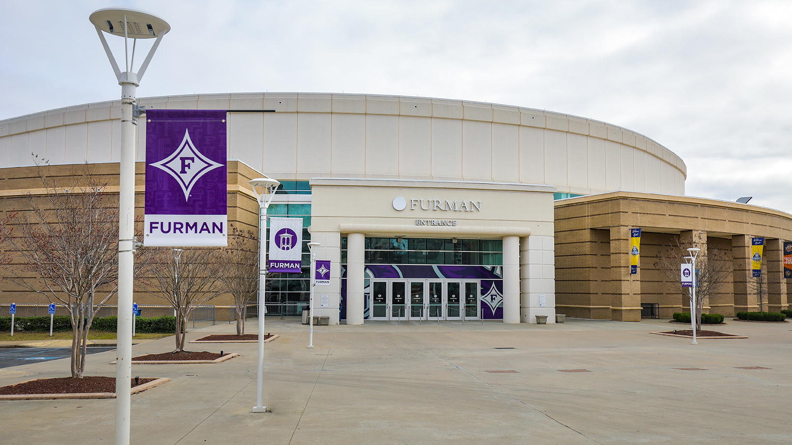 The Furman entrance at Bon Secours Wellness Arena