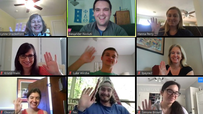 screenshot of nine people on a video call. Jobs and COVID-19