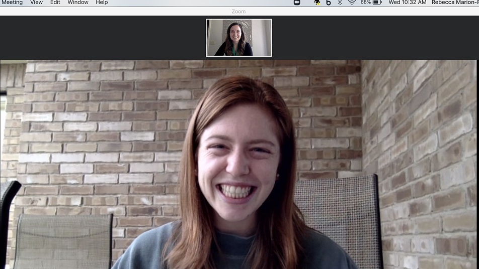 screen shot of student Catey Gans in a Zoom meeting with Rebecca Marion-Flesch. Jobs and COVID-19.