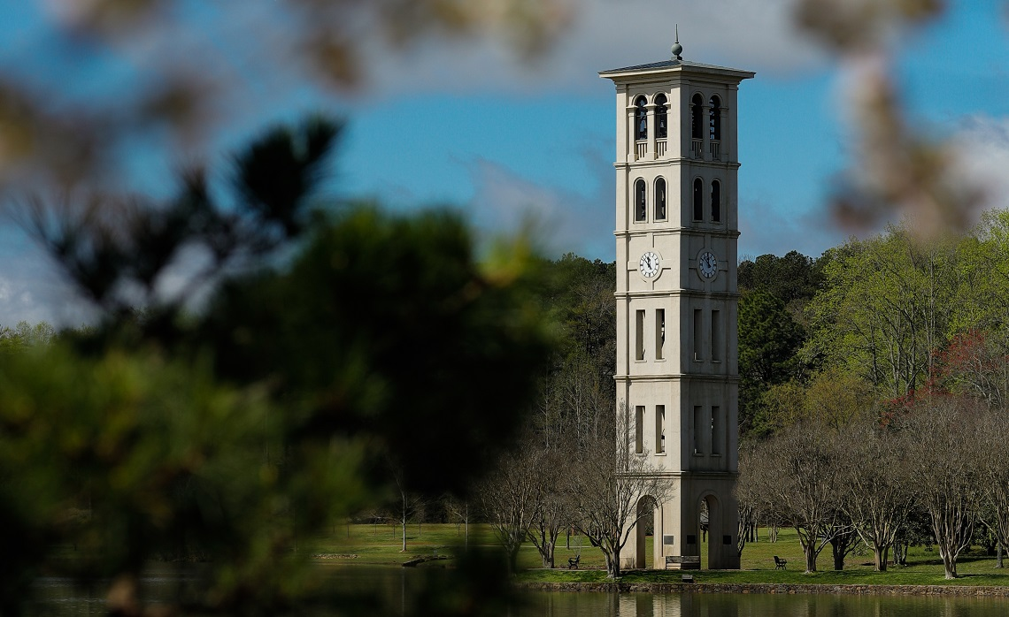 Furman bell tower in spring, virtual campus visit