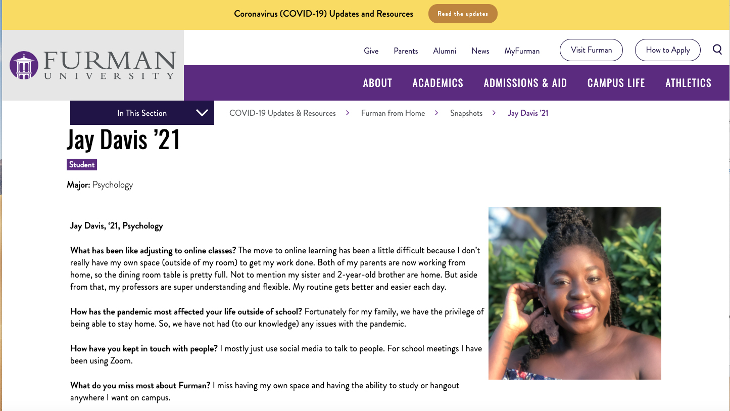 screenshot of a website with a female student's photo and her short answers to questions about the pandemic.