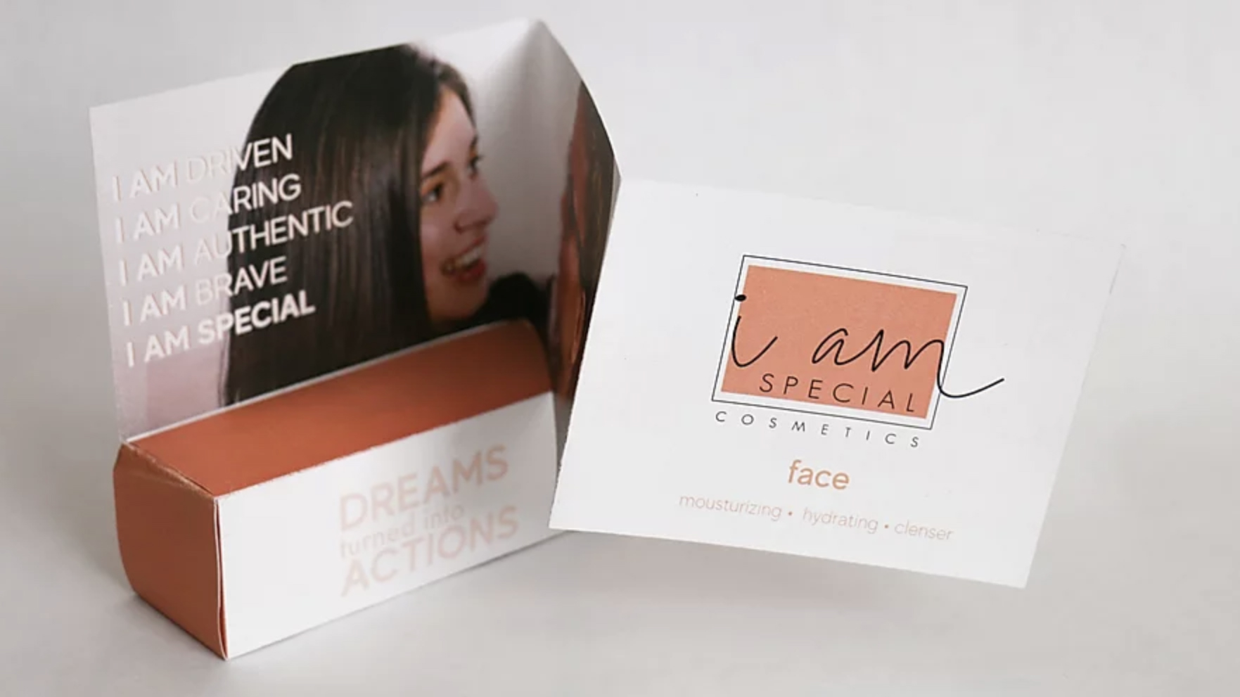 "Photo of cosmetic brand packaging ""I am special."""