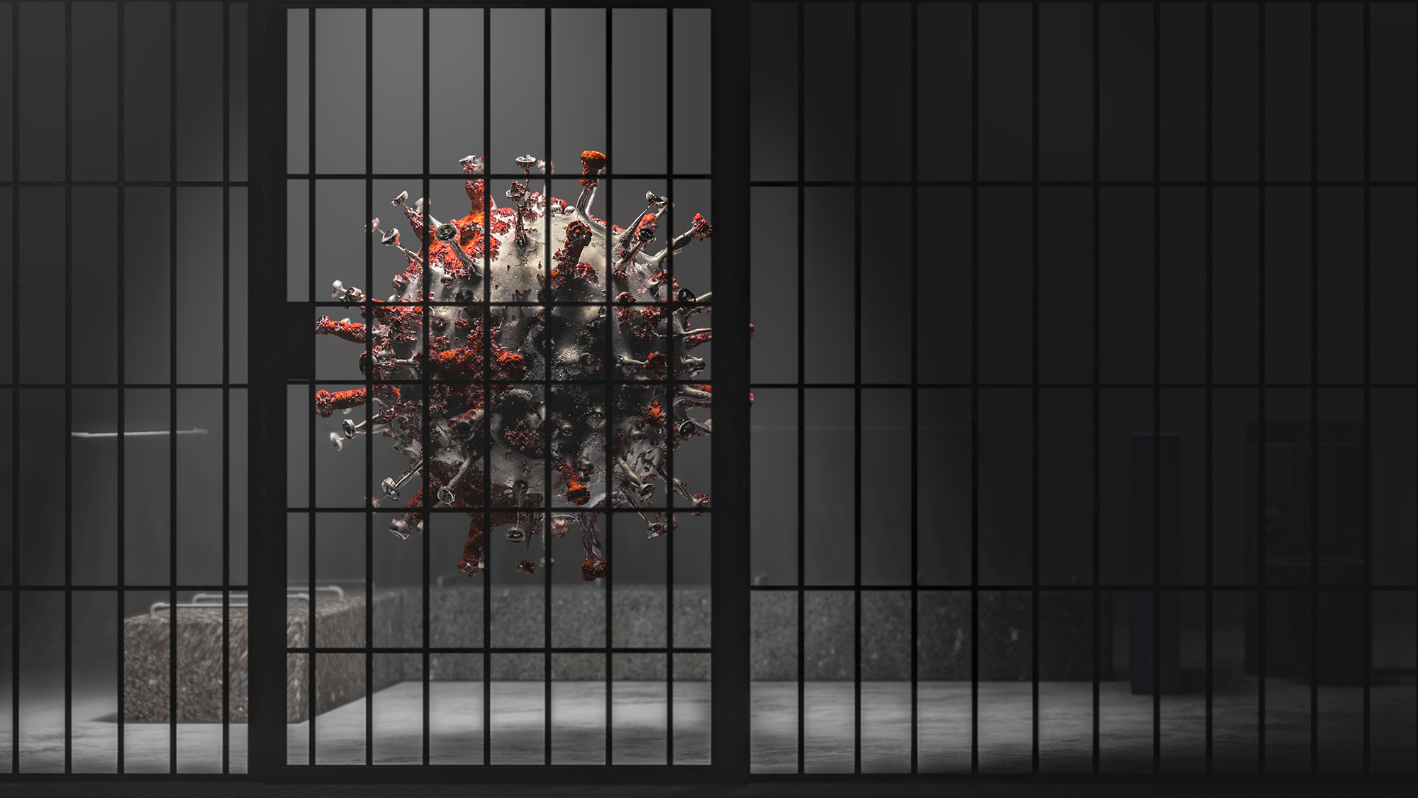 Illustration of a coronavirus in a jail cell