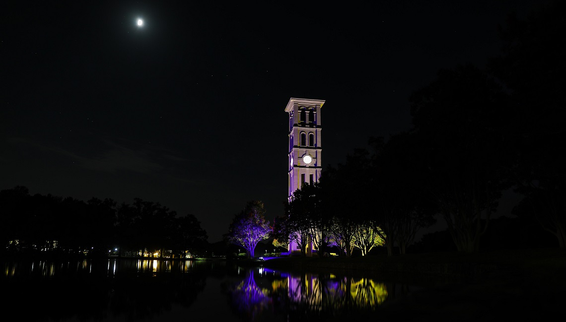 bell tower at night in purple, gold and white