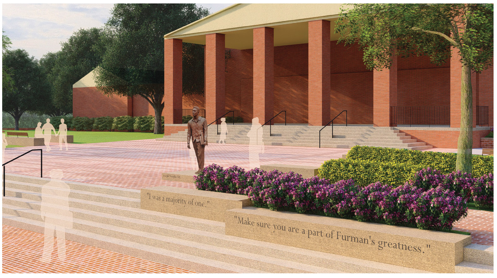 Artist rendering of the Joseph Vaughn Plaza that will be installed on the front steps of the Duke Library