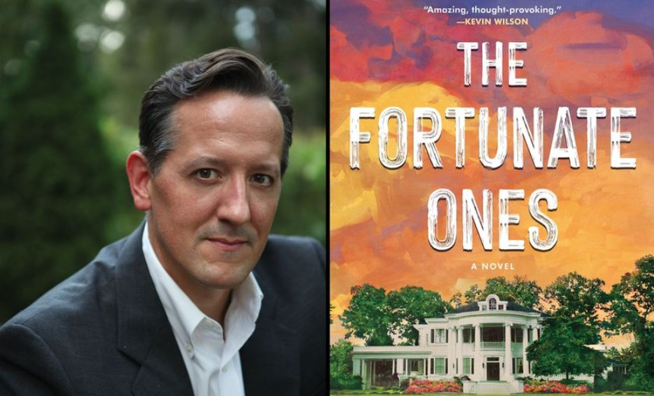 "Man in gray jacket and book cover for ""The Fortunate Ones"""