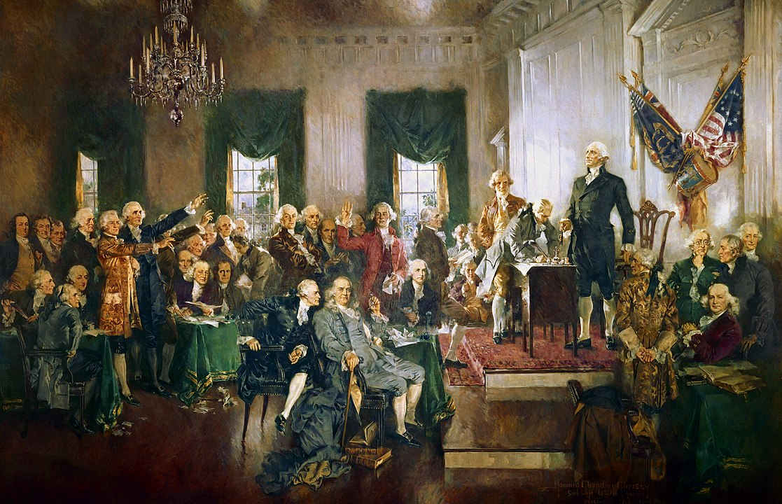 scene from the signing of the Constitution