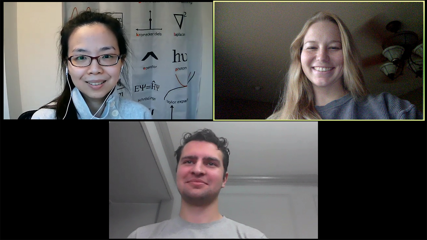 Screen shot of three people on a Zoom video call.