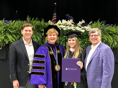 family of four at graduation 2019, Chad, Elizabeth, Clair '19 and Charles Davis